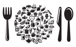 Geplaatste de pictogrammen van het voedsel en van de drank Stock Fotografie