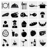 Geplaatste de pictogrammen van het voedsel en van het Restaurant Stock Fotografie