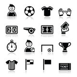 Geplaatste de pictogrammen van het voetbal/van de voetbal Stock Fotografie