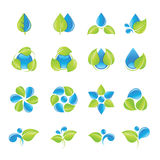 Geplaatste de pictogrammen van het water en van bladeren royalty-vrije illustratie