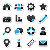 Geplaatste de pictogrammen van het Web en van Internet Stock Foto