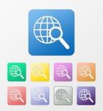 Geplaatste de pictogrammen van het Webonderzoek Royalty-vrije Stock Fotografie