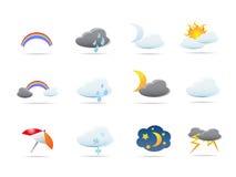 Geplaatste de pictogrammen van het weer Royalty-vrije Stock Fotografie