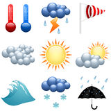 Geplaatste de pictogrammen van het weer Stock Afbeeldingen