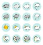 Geplaatste de pictogrammen van het weer vector illustratie