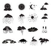 Geplaatste de pictogrammen van het weer Royalty-vrije Stock Afbeelding
