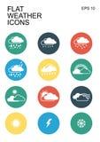 Geplaatste de pictogrammen van het weer Stock Foto's