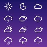 Geplaatste de pictogrammen van het weer Royalty-vrije Stock Foto's