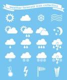 Geplaatste de pictogrammen van het weer Stock Foto