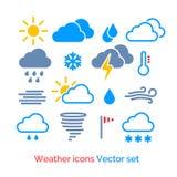Geplaatste de pictogrammen van het weer Royalty-vrije Stock Afbeeldingen