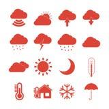 Geplaatste de Pictogrammen van het weerweb Stock Afbeeldingen