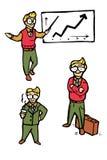 Geplaatste de pictogrammen van het zakenmanbeeldverhaal Stock Fotografie