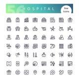 Geplaatste de Pictogrammen van de het ziekenhuislijn royalty-vrije stock afbeeldingen
