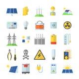 Geplaatste de pictogrammen van het zonne-energiemateriaal, vlakke stijl stock illustratie