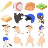 Geplaatste de pictogrammen van honkbalpunten, beeldverhaalstijl Stock Foto's