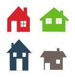 Geplaatste de pictogrammen van huizen Royalty-vrije Stock Afbeeldingen