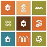 Geplaatste de pictogrammen van huizen De huizen van onroerende goederen?, Vlakten voor verkoop of voor huur Stock Afbeelding