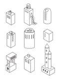 Geplaatste de pictogrammen van huizen Vectorillustratie van isometrische gebouwen Royalty-vrije Stock Fotografie