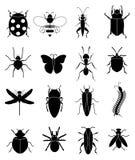 Geplaatste de pictogrammen van insecteninsecten Royalty-vrije Stock Afbeelding