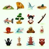 Geplaatste de pictogrammen van Japan Royalty-vrije Stock Foto