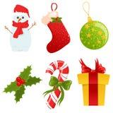 Geplaatste de pictogrammen van Kerstmis Vector Illustratie