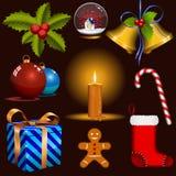 Geplaatste de pictogrammen van Kerstmis. Stock Fotografie