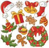 Geplaatste de Pictogrammen van Kerstmis Stock Foto