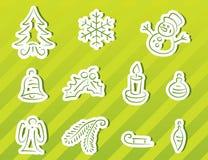 Geplaatste de pictogrammen van Kerstmis Stock Fotografie
