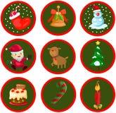 Geplaatste de pictogrammen van Kerstmis Stock Afbeelding