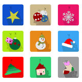Geplaatste de Pictogrammen van Kerstmis Royalty-vrije Stock Afbeelding