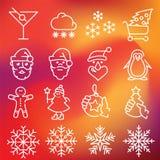Geplaatste de Pictogrammen van Kerstmis Royalty-vrije Stock Afbeeldingen