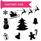 Geplaatste de Pictogrammen van Kerstmis Stock Afbeeldingen