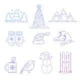 Geplaatste de Pictogrammen van Kerstmis De vakantie heeft inzameling bezwaar Royalty-vrije Stock Foto