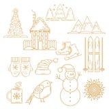 Geplaatste de Pictogrammen van Kerstmis De vakantie heeft inzameling bezwaar Stock Fotografie