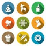 Geplaatste de Pictogrammen van Kerstmis Vector illustratie Royalty-vrije Stock Foto