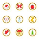 Geplaatste de pictogrammen van Kerstmisdingen, beeldverhaalstijl Stock Afbeelding