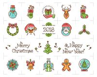Geplaatste de pictogrammen van de Kerstmislijn, Vakantiesymbolen, Nieuwjaarpictogrammen Chinees dierenriemjaar van de hond 2018,  stock illustratie