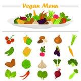 Geplaatste de pictogrammen van kleurengroenten Groentensamenstelling op de plaat bij de bovenkant voor Web en mobiel ontwerp Royalty-vrije Stock Afbeelding