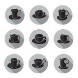 Geplaatste de pictogrammen van koffiekoppen Royalty-vrije Stock Afbeeldingen
