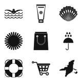 Geplaatste de pictogrammen van de kusttoevlucht, eenvoudige stijl Stock Foto's