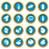 Geplaatste de pictogrammen van lassenhulpmiddelen, eenvoudige stijl Stock Foto's