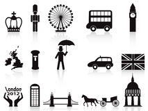 Geplaatste de pictogrammen van Londen Royalty-vrije Stock Foto's