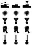 Geplaatste de pictogrammen van de medaillestoekenning Stock Afbeeldingen