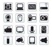 Geplaatste de Pictogrammen van media Stock Foto