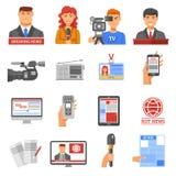 Geplaatste de Pictogrammen van media Royalty-vrije Stock Foto