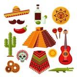 Geplaatste de pictogrammen van Mexico vector illustratie