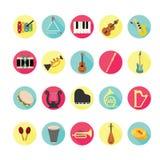 Geplaatste de pictogrammen van muziekinstrumenten Stock Foto