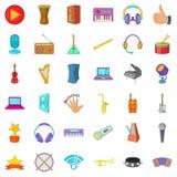 Geplaatste de pictogrammen van de muziekpartij, beeldverhaalstijl Royalty-vrije Stock Foto's