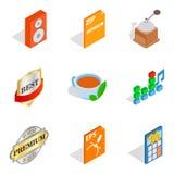 Geplaatste de pictogrammen van de muziekstudio, isometrische stijl Stock Foto