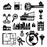 Geplaatste de pictogrammen van onroerende goederen Royalty-vrije Stock Foto's